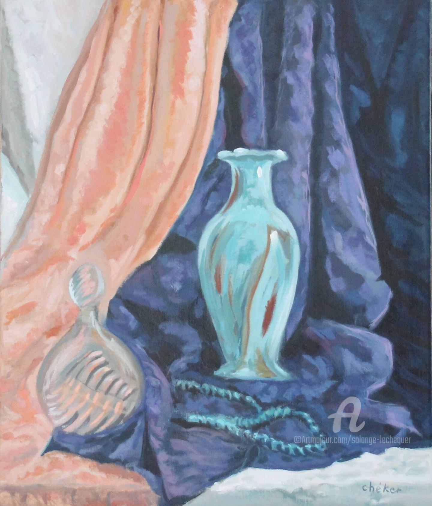 CHéKER - Flacon,parfum, vase et collier turquoise