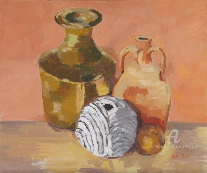 Chéker - Vie silencieuse cruche pot-cuivre et vase-feuille