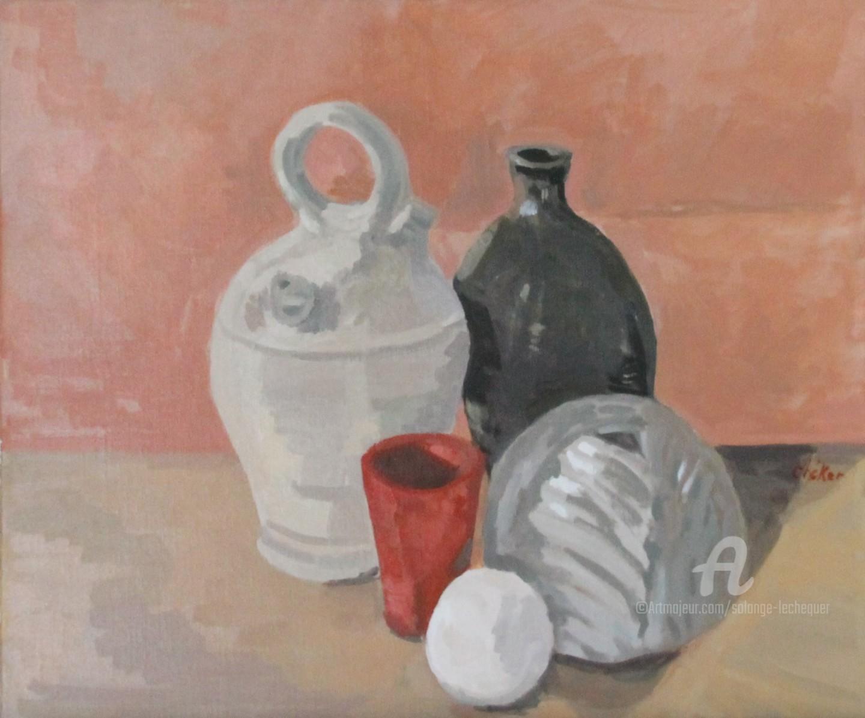 CHéKER - Vie silencieuse,cruche blanche,vase feuille