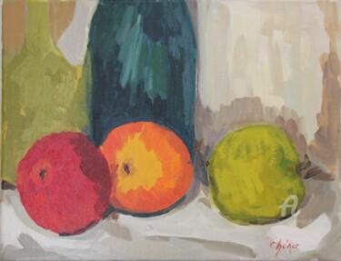3 Pommes sur un torchon fonds bouteilles et cruche