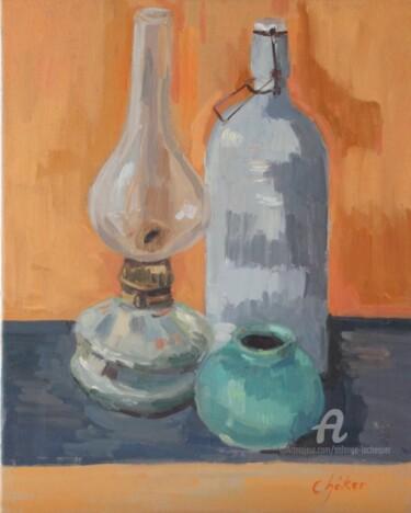 Lampe à pétrole hongroise, pot bleu et bouillotte