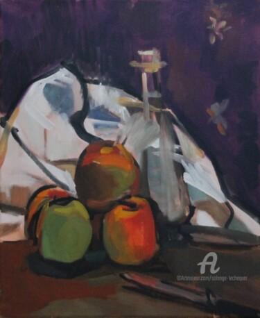 Pommes, carafe et torchon