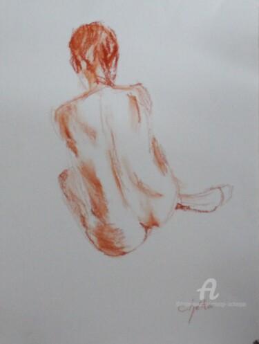 Nu assis pastel à l'huile sur papier