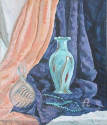 Flacon,parfum, vase et collier turquoise
