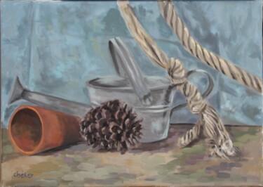 Arrosoir,Pot terre cuite et Corde