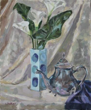 Vase bleu fleurs arums et théière argent