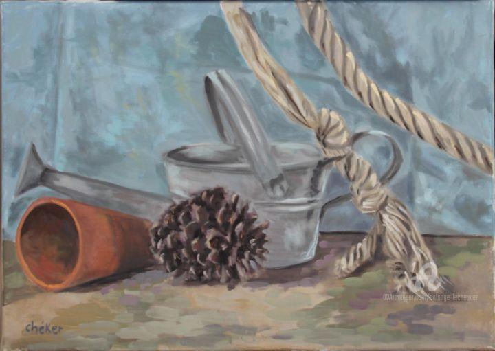 CHéKER - Arrosoir pot terre cuite et corde